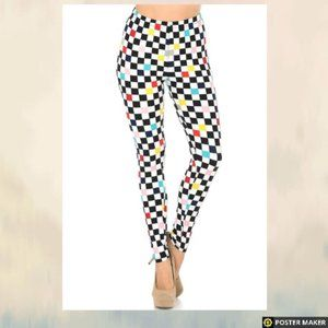 COLOR ACCENT CHECKERED LEGGINGS